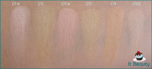 Kryolan Dermacolor D1W D2 D2W D3 D4 D62 swatch