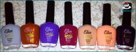 esmalte roxo, magenta, lilás, azul, laranja, bege neutro