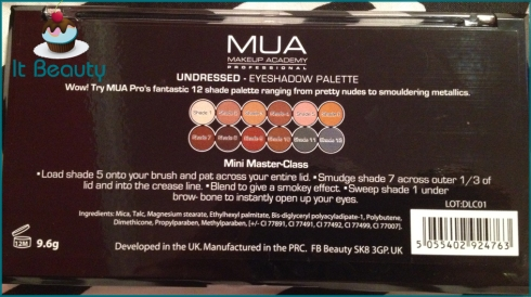 MUA Undressed Palette verso