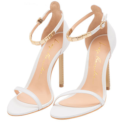Sandália strap branca e dourada LB