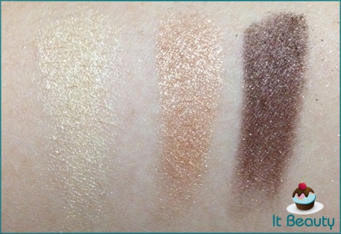 VS Heavenly Look Eye shadow trio champagne, gold e brown swatch