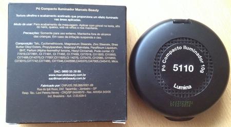 Marcelo Beauty pó compacto iluminador embalagem verso